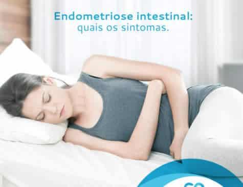 Mulher deitada com dor abdominal Post mídia social Dra. Cinara Oliveira cliente E-clínica marketing Digital