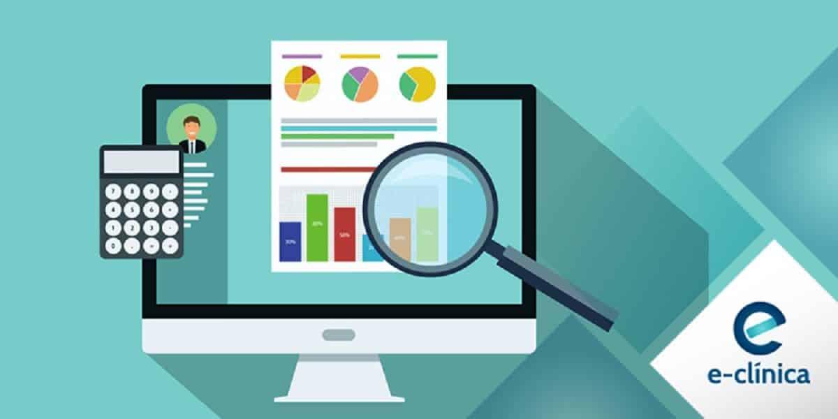 Ilustração de lupa pesquisando em computador como melhorar a gestão clínica blog E-clínica Marketing Digital médico